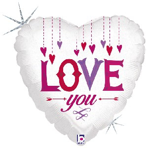 18 INCH FOIL I LOVE YOU BALLOON HANGING HEART ON W
