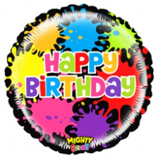 21 INCH FOIL MIGHTY BIRTHDAY PAINT SPLAT