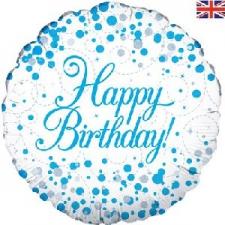 18 INCH FOIL BLUE FIZZ HAPPY BIRTHDAY BALLOON