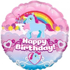 18 INCH FOIL HAPPY BIRTHDAY BALLOON UNICORN DESIGN