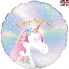 18 INCH FOIL HAPPY BIRTHDAY UNICORN BALLOON PASTEL