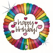 18 INCH FOIL HAPPY BIRTHDAY BALLOON RETRO RAINBOW