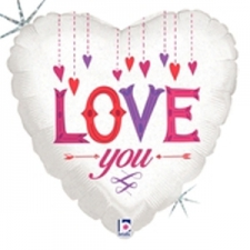 18 INCH FOIL VALENTINE LOVE YOU HANGING HEARTS