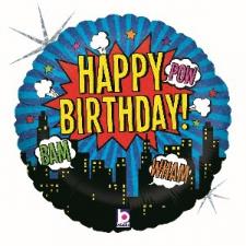 18 INCH FOIL HAPPY BIRTHDAY SUPERHERO BALLOON