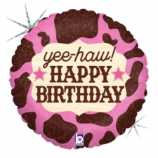 18 INCH FOIL HAPPY BIRTHDAY BALLOON COW PRINT PINK