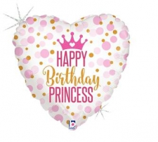 18 INCH FOIL HAPPY BIRTHDAY BALLOON PRINCESS HEART
