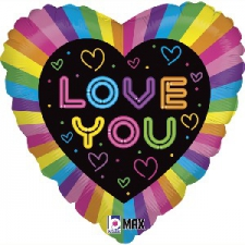 18 INCH FOIL I LOVE YOU BALLOON NEON