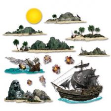 PIRATE PROPS SHIP AND ISLAND