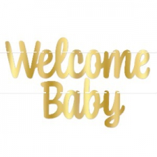 BABY WELCOME BANNER GOLD