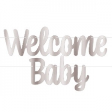 BABY WELCOME BANNER SILVER
