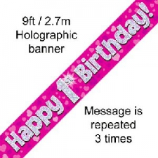 BANNER SMALL HAPPY 1ST BIRTHDAY PINK