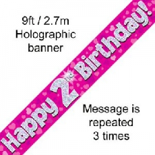 BANNER SMALL HAPPY 2ND BIRTHDAY PINK