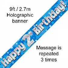 BANNER SMALL HAPPY 2ND BIRTHDAY BLUE