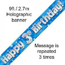 BANNER SMALL HAPPY 3RD BIRTHDAY BLUE