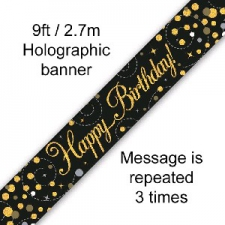 BANNER SMALL SPARKLING FIZZ BLACK HAPPY BIRTHDAY