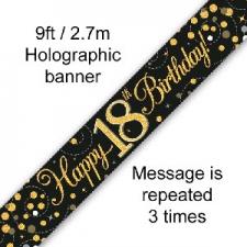 BANNER SMALL SPARKLING FIZZ BLACK HAPPY 18TH BIRTH