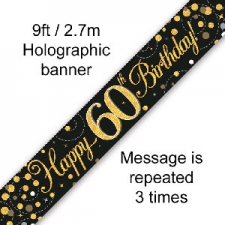 BANNER SMALL SPARKLING FIZZ BLACK HAPPY 60TH BIRTH