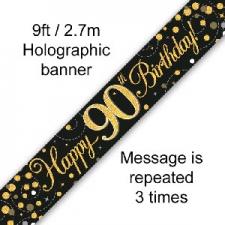 BANNER SMALL SPARKLING FIZZ BLACK HAPPY 90TH BIRTH