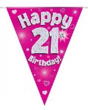 BUNTING HAPPY 21ST BIRTHDAY PINK