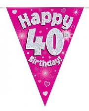 BUNTING HAPPY 40TH BIRTHDAY PINK