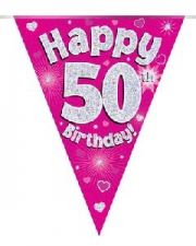 BUNTING HAPPY 50TH BIRTHDAY PINK
