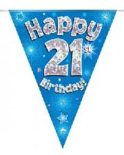 BUNTING HAPPY 21ST BIRTHDAY BLUE