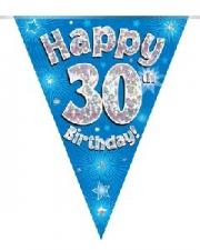 BUNTING HAPPY 30TH BIRTHDAY BLUE