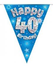 BUNTING HAPPY 40TH BIRTHDAY BLUE