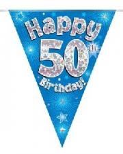 BUNTING HAPPY 50TH BIRTHDAY BLUE