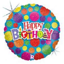 18 INCH FOIL HAPPY BIRTHDAY BALLOON DOTS