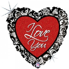 18 INCH FOIL I LOVE YOU BALLOON DAMASK DESIGN