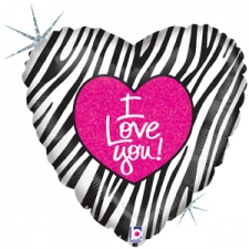 18 INCH FOIL LOVE I LOVE YOU  ZEBRA