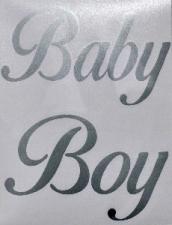 BALLOON STICKER BABY BOY SILVER 10'S