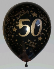 LATEX PRINTED 50th WITH GOLD METALIC INK 50s