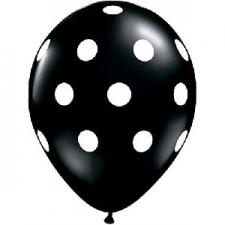LATEX PRINTED POLKA DOT BALLOON BLACK 10s
