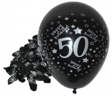 LATEX PRINTED 50th WITH SILVER METALIC INK 50s