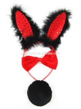 BUNNY EARS and TAIL and BOWTEI RED