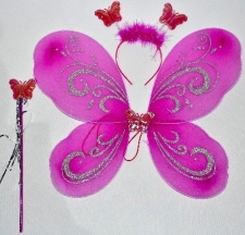 DRESS UP FAIRY WINGS BRIGHT PINK