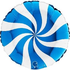 18 INCH FOIL SWIRLY BALLOON BLUE AND WHITE