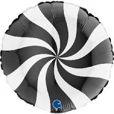 18 INCH FOIL SWIRLY BALLOON BLACK AND WHITE