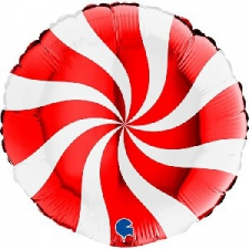 18 INCH FOIL SWIRLY BALLOON RED AND WHITE