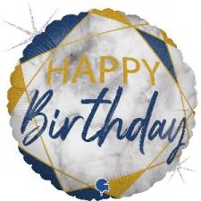 18 INCH FOIL HAPPY BIRTHDAY BALLOON BLUE MARBLE