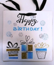 GIFT BAG 20X20 HAPPY BDAY BLUE MED