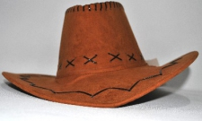 HAT COWBOY LEATHER LIGHT BROWN