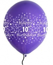 LATEX PRINTED 10TH BALLOONS ASSTD 10'S