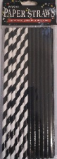 STRAWS PAPER 25s BLACK WITH FOIL