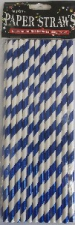 STRAWS PAPER 25s BLUE WITH FOIL