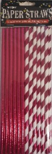 STRAWS PAPER 25s BRIGHT PINK WITH FOIL