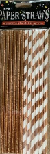 STRAWS PAPER 25s ROSE GOLD WITH FOIL