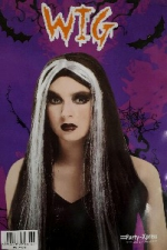 WIG LONG BLACK WITH WHITE STREAKS